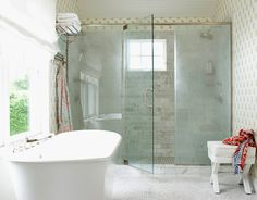 now that's a master bathroom shower---dual shower heads.