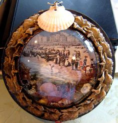 Mouse over image to zoom    Have one to sell? Sell it yourself  1800s Sailors Valentine Victorian Shell Art Bubble Glass Frame Round EXCELLENT