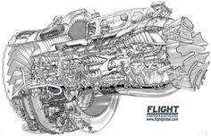General Electric CF680C2 cutaway Aerospace cutaways and