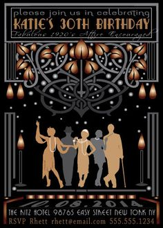 Roaring 20s Glamorous Flapper Invitation by 8Hollydays on Etsy, $15.00 MADE TO PRINT AT HOME!!! LOVE IT!