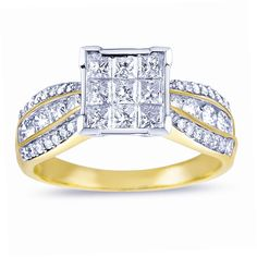 Eloquence 14k White and Yellow Gold 1 3/8ct TDW Diamond Composite Engagement Ring (H-I I2) (Size ) Women's