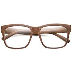 5a699b0c293 Large Wood Print Horned Rim Modern Clear Lens Glasses 9898