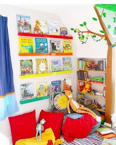 Creating a colorful reading nook for your kiddo is simple, but you'll need some essentials. Grab some books, shelves, a lamp & a comfy chair and you're set!