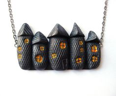 Spooky Houses Halloween Necklace. $23.00, via Etsy.