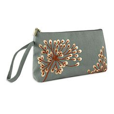 Wristlet Purse - Embroidered Dandelion (Stone - Coral):   This pretty wristlet linen purse with beautiful contrasting embroidery, is satin lined and part of our collection of nature inspired accessories featuring dandelions, symbols for a new beginning. Functional and fashionable with a comfortable wrist loop, the full length zipper allows easy access to the ample inner compartment that accommodates larger items like phones, make up and essentials. In colors to compliment any theme, th...