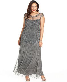 Pisarro Nights Plus Size Illusion Embellished Gown