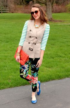 Floral pants + sleeveless trench vest