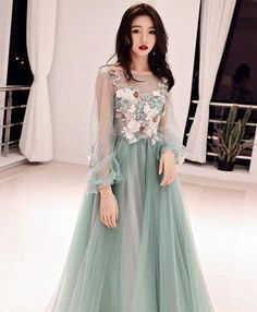 Green tulle lace applique long prom dress, green evening dress Green tulle lace applique long prom dress, by PrettyLady on Zibbet Green Evening Dress, Lace Evening Dresses, Elegant Dresses, Pretty Dresses, Green Dress, Tulle Prom Dress, Party Dress, Prom Dresses, Tulle Lace
