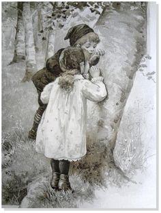 "Children's Antique Print-Harriet Bennett ""Hole in Tree"" Sepia Print Nister 1892 #Vintage123yearsold"