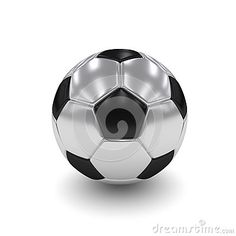 3d rendered silver soccer ball  over white background