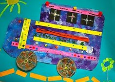 """Once again, we recycled our """"painting placemats"""" into another project. This time we looked at the vivid colors and wild patterns found on the trucks in India. Students cut the edges of … Art Lessons For Kids, Art For Kids, Kids Collage, Bus Art, Art Transportation, Elementary Art Rooms, Haitian Art, 6th Grade Art, Art Classroom"""