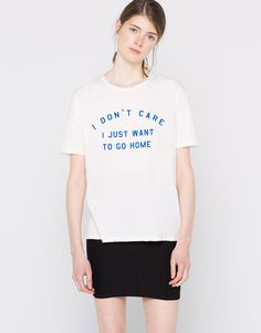 Message-print oversized t-shirt - T-shirts - Clothing - Woman - PULL&BEAR Colombia