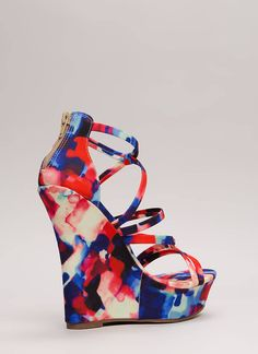 Knots And Straps Abstract Print Wedges MULTI