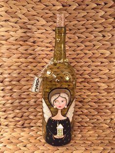 Angel wine bottle I painted