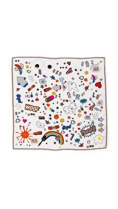 Sticker Pattern Silk Scarf