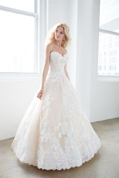 Strapless sweetheart lace ball gown wedding dress.   Madison James  Style: MJ354