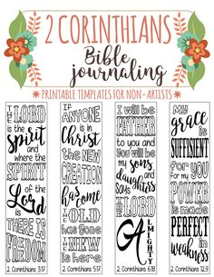 2 CORINTHIANS - 4 Bible journaling printable templates, illustrated christian faith bookmarks, black and white bible verse prayer journal Bible Study Journal, Scripture Study, Bible Art, Art Journaling, Scripture Journal, Journal Art, Hebrews Bible Study, Revelation Bible Study, Revelation 4