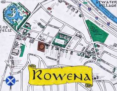 oil paint and ink map of Rowena Avenue in Silver Lake, Los Angeles (Ivanhoe district)