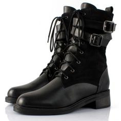 Buy Best Black Leather Lace Up Flat Goth Punk Dress Boots for Women  SKU-143286