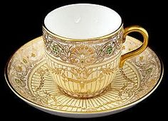 Jeweled Royal Worcester Demitasse Cup & Saucer | Tea Cups and Pots