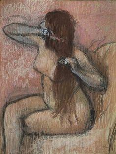Femme assise, se coiffant de l'artiste Edgar Degas