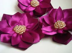 6 pieces handmade Magenta satin  lotus flowers by bidesign on Etsy, $21.00