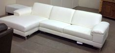 Bloomingdale's Nicoletti Tufted White Leather Sectional Sofa*WE SHIP ANYWHERE* #Bloomingdales #Modern