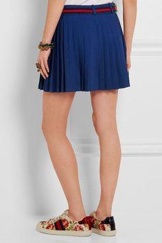 Gucci for NET-A-PORTER - Floral-appliquéd Wool-blend Mini Skirt - Royal blue - IT