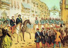 1859-Entrée des troupes Franco Piémontais à Milan. Après la victoire du 4 juin à Magenta remportée sur les Autrichiens par les troupes franco-piémontaises, l'empereur Napoléon III et Victor Emmanuel II entrent à Milan acclamés par une foule enthousiaste.