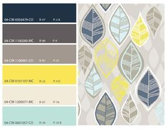 Spring Hues Navy Blue, Warm Grays, Yellow, Turquoise Color Scheme Palette