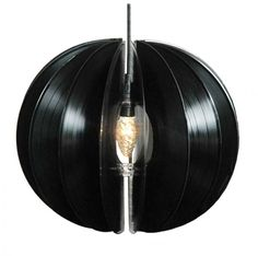 Vinyl Chandelier for Music Room/Form Nasielsky Vinyl Record Crafts, Old Vinyl Records, Vinyl Art, Nordic Living, Nordic Design, Vinyl Projects, Light Fixtures, Chandelier, Lights