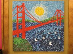 Golden Gate Bridge mosaics! One of a kind art you can create at Color Bundles Art Studio. For more info please visit our website; www.colorbundles.com . Follow us on Facebook.com/colorbundles