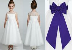 """Flower Girl Dress: Illusion Cap Sleeve Dot Tulle Ruched waist full ball gown skirt- ivory. Dress Style WG1344.  Regency purple sash sold separately; measure s 28"""" in length and 1.75"""" wide. Bow is 7.75"""" in length and 4.75"""" wide, ribbon on bow is 21"""" long. Sizes 10-14 as style LG1041.  davidsbridal.com"""