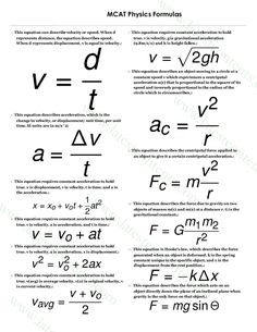 MCAT Physics Formulas List & Tips to Solve Problems Easily Best Picture For Physical Science ideas For Your Taste You are looking for something, and it is going to tell you exactly what you are lookin Physics Lessons, Physics Concepts, How To Study Physics, Physics Notes, Physics And Mathematics, Science Notes, Quantum Physics, Physics Humor, Physics Help
