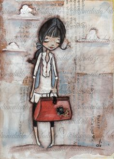 "Items similar to Print of My original folk art cereal box painting - Destination Anywhere on Etsy - Print of My original folk art cereal box painting by DUDADAZE ""Destination Anywhere"" print ©d - Doodles, Painted Boxes, Pretty Art, Illustration Girl, Whimsical Art, Box Art, Mixed Media Art, My Drawings, Just In Case"