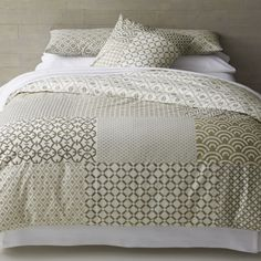 Sereno Hand-Blocked Bed Linens  | Crate and Barrel   Like the standard and king shams for master bedroom