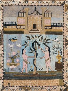 American Sampler ~ Elizebeth Tunnicliff ~ 1791 ~ Albany, Albany County, New York ~ Winterthur Museum Embroidery Sampler, Winterthur, Adam And Eve, Printed Linen, Museum Collection, Textile Art, Needlepoint, Folk Art, Needlework