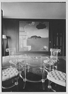lucite dining room of Helena Rubinstein with Dali's painting