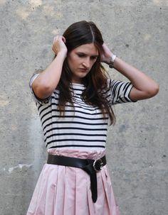 Outfit selbstgenähter Rock plus Streifentop Modeblog fairy tale gone realistic…