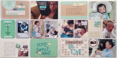 Becky's Creative Team - *Amy Tan - November - beautiful baby pages, love the hand sewn Home Sweet Home