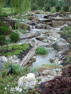 Natural looking backyard garden streams & waterfalls are great stand alone water features or can be added on to existing koi ponds or water gardens in Rochester New York (NY) by Acorn Ponds & Waterfalls