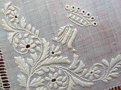 Em's Heart Antique Linens -Antique Linen Monogram Royal Coronet Handkerchief