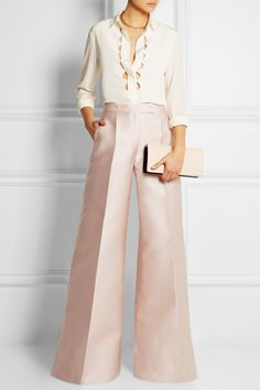 Antonio Berardi|Scuba-satin wide-leg pants |EDITORS' NOTES & DETAILS Antonio Berardi's blush pants are tailored from light yet structured scuba-satin for an exaggerated wide silhouette. Blended with silk, this runway style is finished with a flattering high waist and leg-lengthening pressed creases. Wear yours with a feminine blouse and heels.