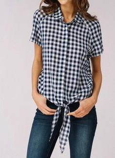 Picnic Gingham Tie front shirt