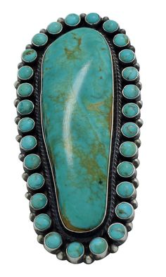 Skeets, Anthony. Navajo artist Anthony Skeets specializes in cluster work. He makes the big, bold, and beautiful. This ring is made with unique and stunning pieces of Turquoise Mountain. Each stone is a perfect match and displays fascinating brown matrix against the rich green. | eBay!