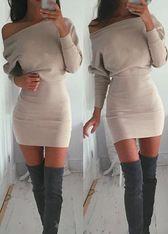 Beige Loose Off Shoulder Dolman Sleeve Mini Dress