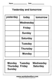Days of the week: Yesterday and tomorrow worksheet
