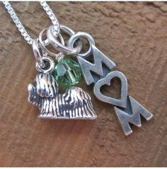 Yorkshire Terrier Mom Mini Sterling Silver Necklace, Dog Park Publishing