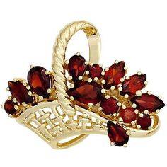 Brosche Anstecker Korb mit Blumen Granat rot 333 Gold Gelbgold Edelstein, Damen