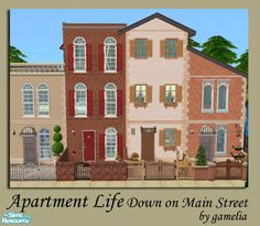 Been using this lot in my game for ages. It's awesome but it's from TSR. Casas The Sims 4, Episode Backgrounds, 2nd City, Sims House, Sims Cc, Main Street, Maine, Urban, Traditional